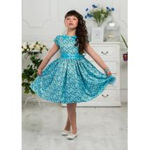 Платье нарядное бирюзовое с цветочками Варвара