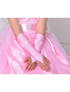 Митенки розовые на девочку Бантик