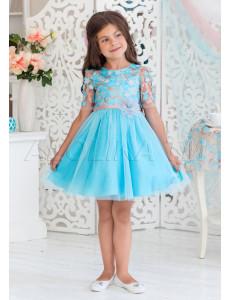 Платье нарядное бирюзового цвета с нежными цветами Арабелла
