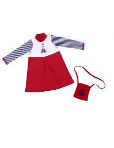 Платье с длинным рукавом красного цвета в полоску с собачкой