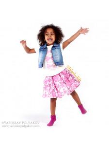 Комплект летний розового цвета bebus (юбка, футболка и жилетка)
