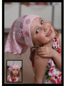 """Косыночка розовая ажурная для девочек """"Мыльные пузыри"""""""