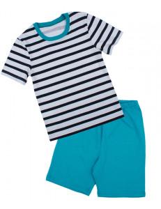 Пижама летняя для мальчиков бирюзового цвета в полоску