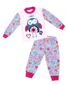 """Пижама с длинным рукавом бирюзовая с сердечками """"подмигивающая сова"""""""