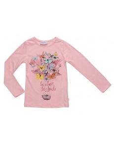 """Футболка для девочек с длинным рукавом розовый меланж """"Бабочки"""""""