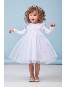 """Платье нарядное для девочек белого цвета """"Снежинка"""""""