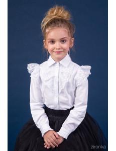 "Блузка белого цвета с кружевом на рукаве ""Гимназистка"""