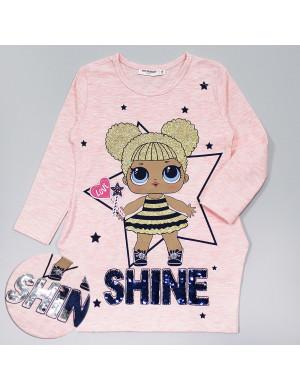 """Платье розового цвета с куколкой и пайетками-перевертышами """"Лола"""""""